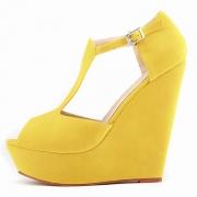 Women's Peep Toe Buckle Wedge High Heels Sandals
