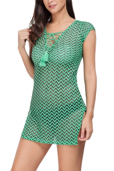 green-v-neck-lace-up-cover-up-dress