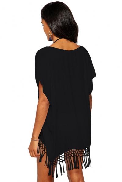 black-short-kimono-sleeve-crochet-fringe-beach-kaftan