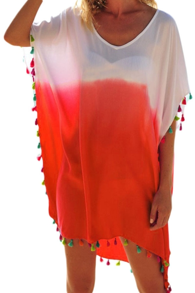 White Orange Tassel Beach Cover up
