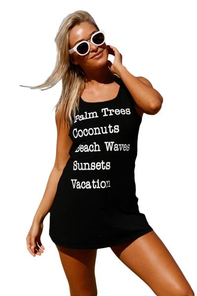 Black Graphic Tank Swim Cover Up Dress