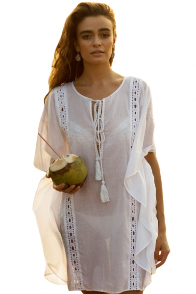 Sheer White Flyaway Kaftan Beach Cover Up