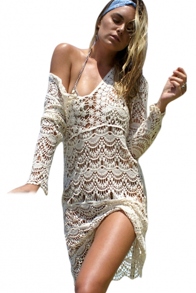 Cream Flowery Crochet Long Beach Dress
