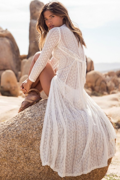 Summer Breeze Lace Crochet Maxi Beachwear