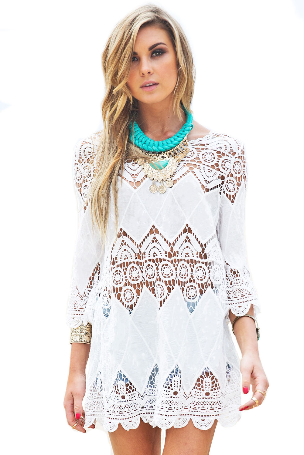 374768f03da71 Loading zoom. Bohemian Crochet Beach Tunic ...