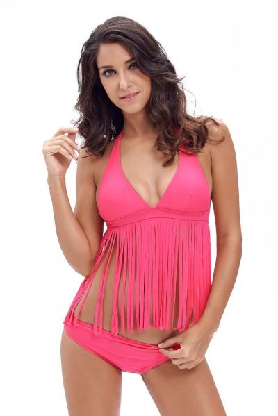Rosy 2pcs Fringe Halter Bikini Swimsuit