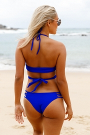 6d6209c96d Royal Blue Strappy Crisscross Sexy Two Piece Swimsuit - STYLESIMO.com