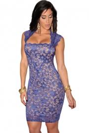 Royal-Blue Lace Nude Illusion Vintage Dress