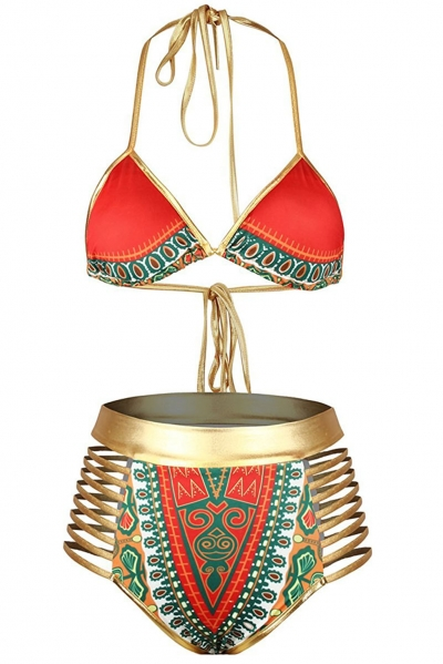 Orange African Tribal Metallic Cutout High Waist Swimsuit