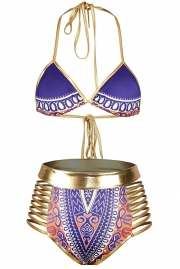 Purple African Tribal Metallic Cutout High Waist Swimsuit