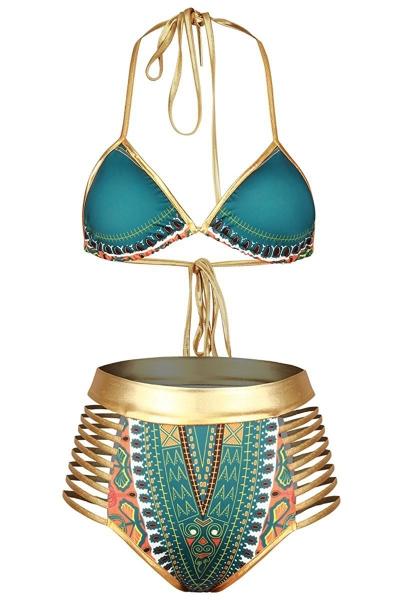 Green African Tribal Metallic Cutout High Waist Swimsuit