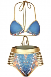 Blue African Tribal Metallic Cutout High Waist Swimsuit