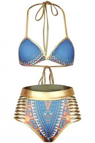 Blue African Tribal Metallic Cutout High Waist Swimsuit OP227012-8