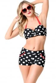 Black White Polka Dot High Waist Halter Bikini Swimsuit