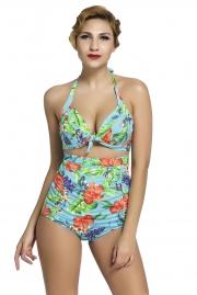 Floral Print Bluish Retro High Waist 2 Pieces Swimsuit