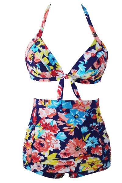 Blooming Navy Retro High Waist 2 Pieces Swimsuit