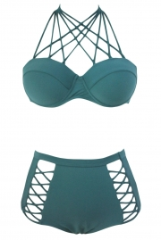 Green Strappy Push-up High Waist Bikini Swimsuit