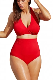 Solid Red Halter High Waist Swimsuit
