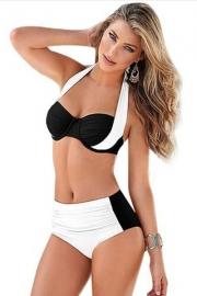White Black Stylish Bicolor High Waist Swimsuit