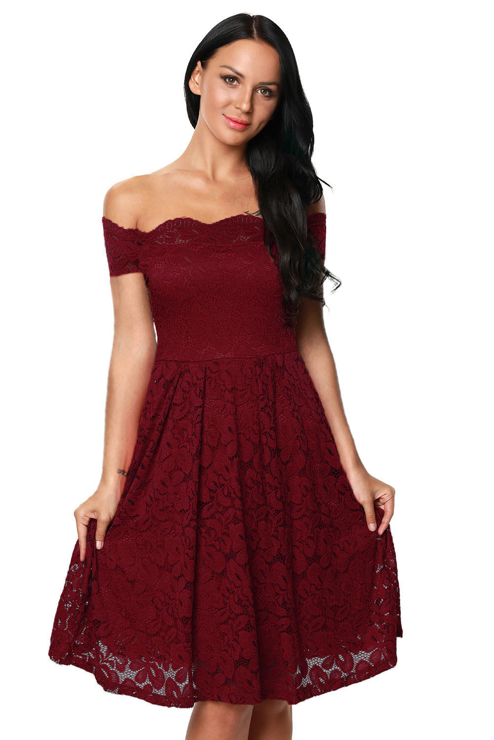 Wine Scalloped Off Shoulder Flared Lace Dress - STYLESIMO.com