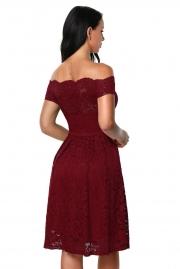 Wine Scalloped Off Shoulder Flared Lace Dress