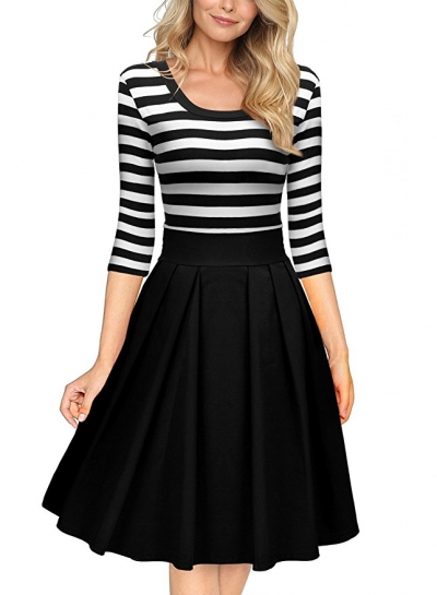 5af67c9bb43f Black White Stripes Scoop Neck Sleeved Casual Swing Dress