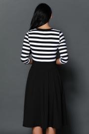 Black White Stripes Scoop Neck Sleeved Casual Swing Dress