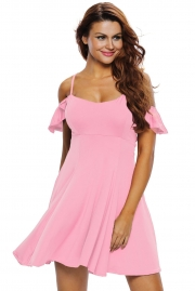 Sweet Sexy Pink Backless Skater Dress