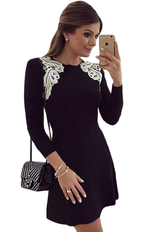 Lace Shoulder Applique Black Long Sleeve Skater Dress Stylesimo