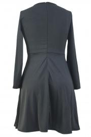 Lace Shoulder Applique Black Long Sleeve Skater Dress