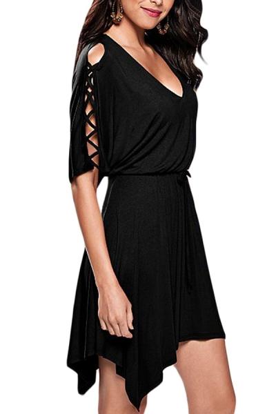 Black Lace Up Half Sleeves Irregular Skater Dress STYLESIMO.com