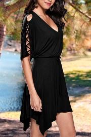 Black Lace Up Half Sleeves Irregular Skater Dress