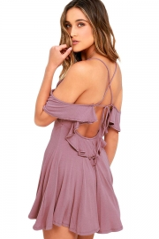 Sweet Sexy Purple Backless Skater Dress