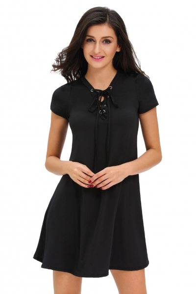 Black Casual Lace-up Swing Dress STYLESIMO.com