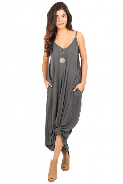 Charcoal Grey Boho Pocketed Maxi Dress STYLESIMO.com