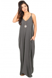 Charcoal Grey Boho Pocketed Maxi Dress