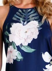 Women's Fashion Spaghetti Strap off Shoulder Sleeve Floral Mini Dress