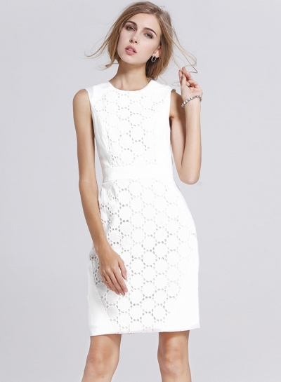 Women's Lace Round Neck Sleeveless White Bodycon Dress