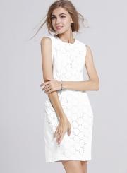 Women's Lace Round Neck Sleeveless White Bodycon Dress