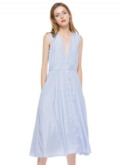 Women's V Neck Sleeveless Striped A-line Midi Party Dress