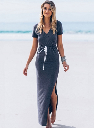 Women's Fashion V Neck Short Sleeve Drawstring Waist Split Maxi Dress