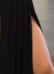 off Shoulder Short Sleeve High Slit Maxi Pleated Dress