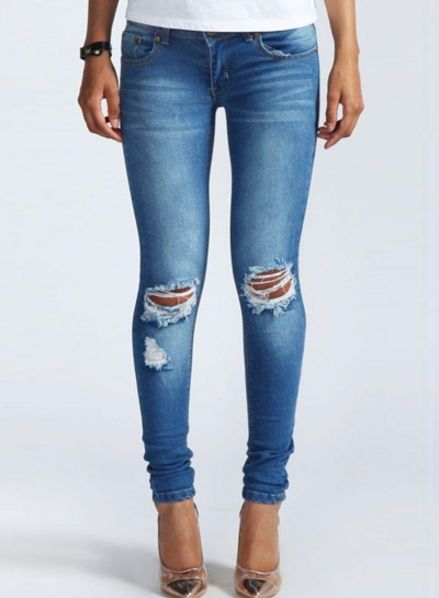 Women's Low Waist Ripped Denim Pencil Pants Jeans