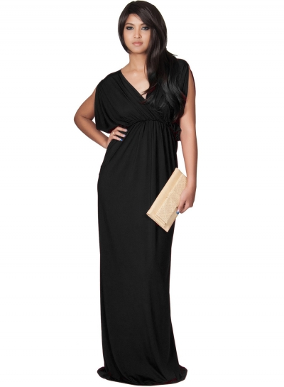 Women's Elegant V Neck Short Sleeve High Waist Maxi Evening Dress