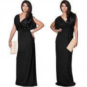 Women's Elegant V Neck Short Sleeve High Waist Maxi Evening Dress
