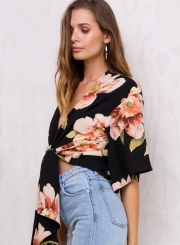 Women's Floral Printed V Neck Short Sleeve Two-Way Blouse
