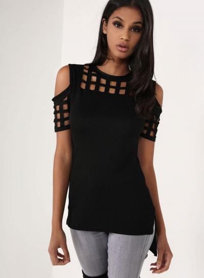 Women's Fashion off Shoulder Short Sleeve Hollow Out Slim T-shirt