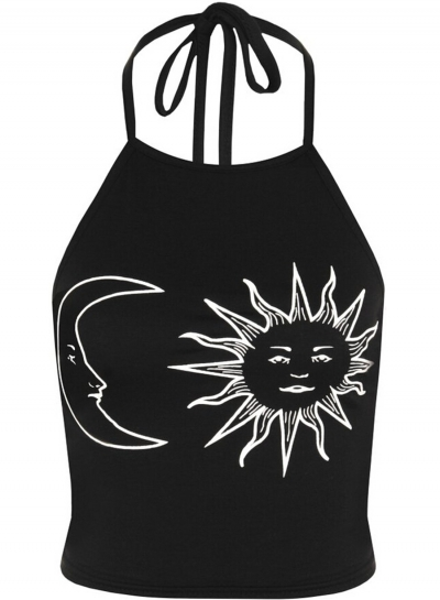Women's Fashion Sleeveless Sun Moon Print Halter Neck Crop Top