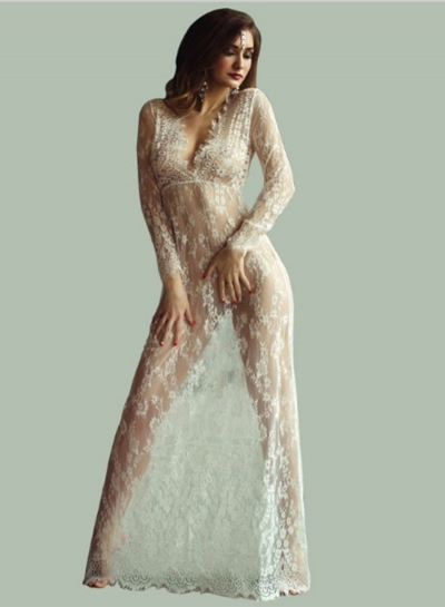 Women's Fashion V Neck Long Sleeve Sheer Lace Maxi Dress