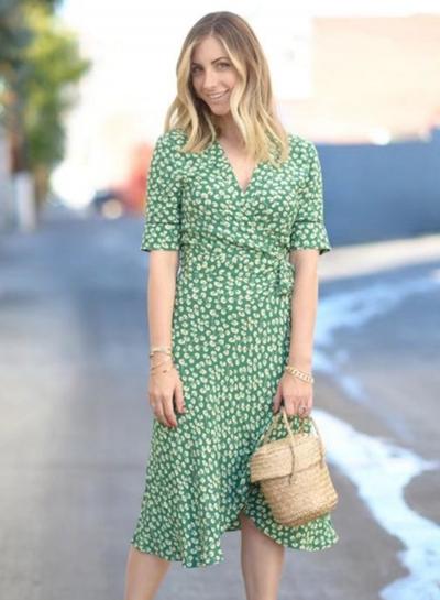 74e3ee6e5 Women's Fashion Wrap V Neck Floral Tie Waist Midi Dress - STYLESIMO.com